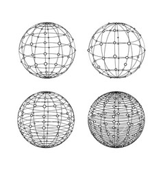 wireframe spheres set globe symbols with dots vector image vector image