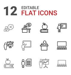 12 teacher icons vector