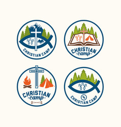 a set of christian logos of camps vector image