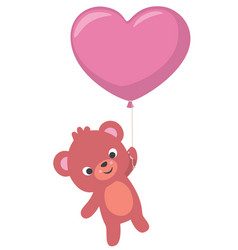 baby bear flying with heart shaped balloon vector image