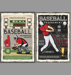 Baseball sport game players on field vector