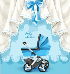 Blue baby shower card with baby carriage vector