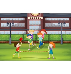 Boys and girls playing piggy back ride vector
