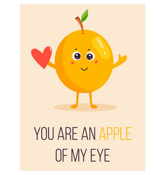 bright poster with cute cartoon apple and saying vector image