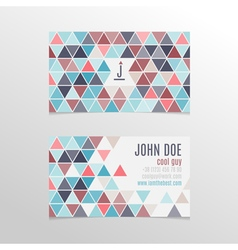 Business card design with bright triangles vector image