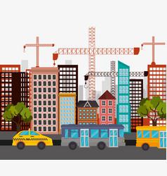 cab bus city street crane construction design vector image