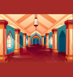 castle corridor labyrinth medieval palace maze vector image