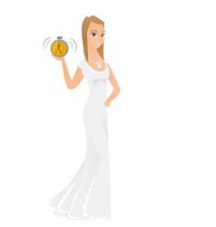 Caucasian fiancee holding alarm clock vector