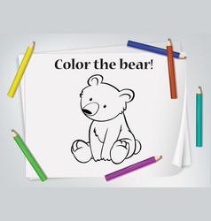 Children bear coloring worksheet vector