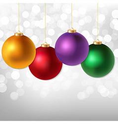 Christmas Balls And Silver Bokeh vector image