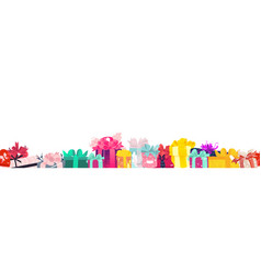 Christmas birthday gifts presents endless border vector