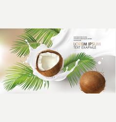 Coconut milk splash swirl realistic vector