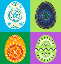 Colored Easter Eggs With Ornaments vector image