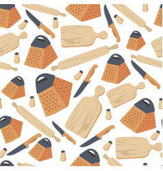 cooking utensils and cookery knife and rolling vector image