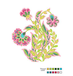 Cross stitch flowers ready-made template vector