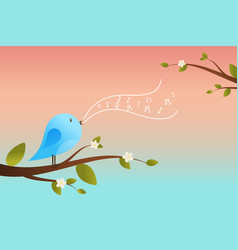 cute bird sings spring card vector image