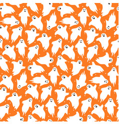Cute orange pattern with little dancing ghosts vector