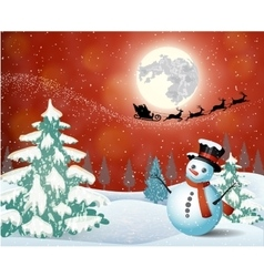 Cute snowman on the background of night sky vector image