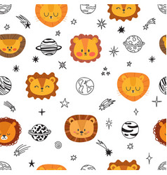 cute space seamless pattern with cartoon lions vector image