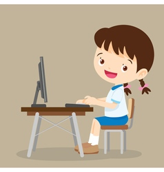Cute student girl working with computer vector