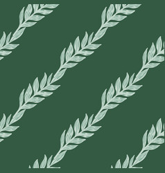 Diagonal seamless doodle pattern with foliage vector