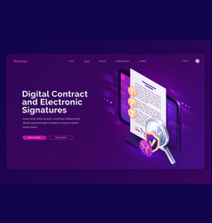 digital contract and electronic signature landing vector image