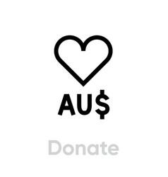 donate australia dollar icon editable line vector image