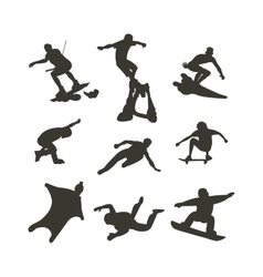 Drawing jumping and climbing men extreme vector