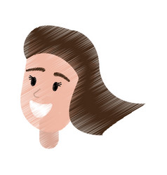 drawing portrait girl smiling vector image