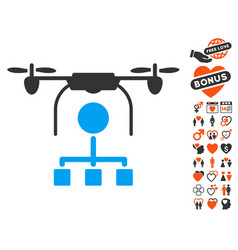drone distribution icon with love bonus vector image