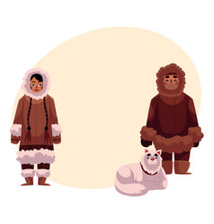 eskimo inuit couple in warm winter clothes with vector image