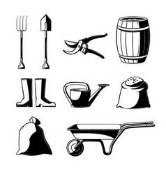 Farming and gardening tools set isolated on white vector