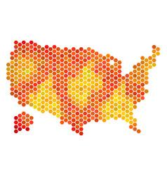 Fired hexagon usa with alaska map vector