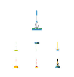 Flat icon mop set of broom cleaner sweep and vector