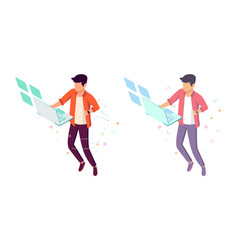 Flat young man with future interface and laptop vector