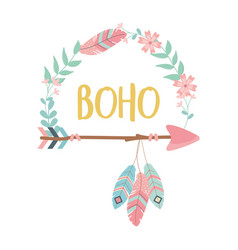 flowers and feathers with arrows decoration boho vector image