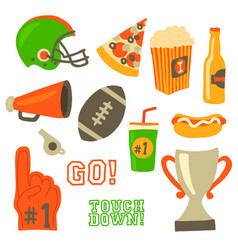 Football party icons super bowl celebration vector