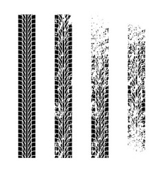 four different grunge tire tracks vector image