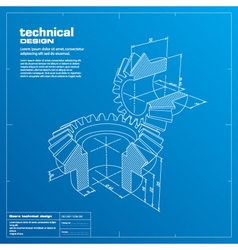 gears blueprint background vector image