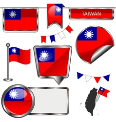 Glossy icons with Taiwanese flag vector