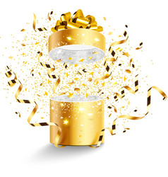 Golden gift isolated vector image