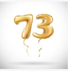 Golden number 73 seventy three metallic balloon vector