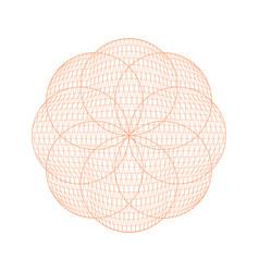 guilloche rosette circular sign color thin line vector image