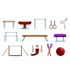 Gymnastics equipment icons set cartoon style vector