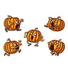 Halloween Runaway Pumpkin set vector