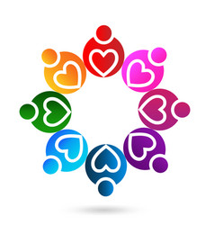 heart teamwork people icon vector image