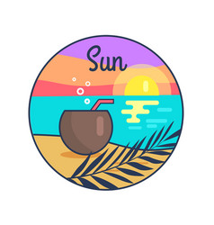 Icon depicting sun setting in tranquil sea vector