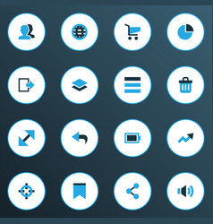 interface icons colored set with trend list vector image