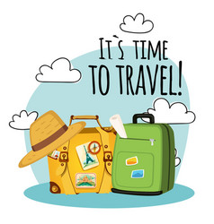 its time to travel baggage cloud background vector image