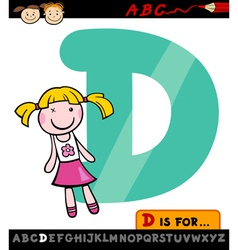 letter d with doll cartoon vector image